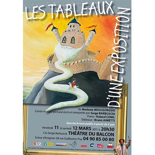 Affiche du spectacle les tableaux d'une exposition par la compagnie Serge barbuscia